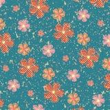 Bezszwowi kwiaty na grunge teksturze Fotografia Stock