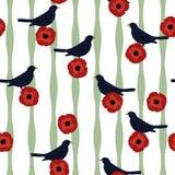 Bezszwowi kwieciści deseniowi czerwoni maczków kwiaty, ptaki i ilustracja wektor