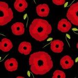 Bezszwowi kwieciści deseniowi duzi i mali czerwoni maczków kwiaty, pączek na czerni ilustracja wektor