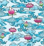 Bezszwowi lotosowi kwiaty i chmury ilustracja wektor