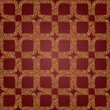 Bezszwowi luksusowi złoci wzory od kwadratowych płatków na czerwonym tle Obraz Royalty Free