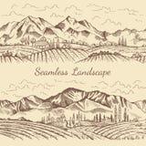 Bezszwowi obrazki natura krajobraz Winnicy lub wsi ilustracje ilustracja wektor