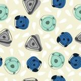 Bezszwowi pierwotni geometryczni wzory z kwadratami, trójbokami i okręgami, royalty ilustracja