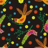 Bezszwowi ptaki stylizujący na czarnym tle Obraz Stock