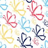 Bezszwowi ręka remisu motyle royalty ilustracja