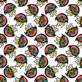 Bezszwowi retro galaretowej ryba dzieciaki deseniują tapetowego tło w wektorze Zdjęcia Stock