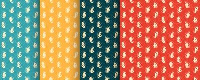 Bezszwowi retro wzory z waluta symbolami wektor Obrazy Royalty Free