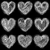Bezszwowi serca chalkboard, miłości tło i tekstura. Obrazy Stock
