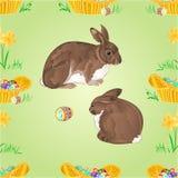 Bezszwowi tekstura króliki i Easter jajka wektorowi Zdjęcie Royalty Free