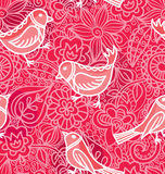 Bezszwowi Texturewith kwiaty, ptaki i ilustracji