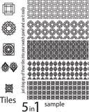 Bezszwowi wzory różni unikalni kształty, set unikalny i ilustracji