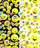 Bezszwowi wzory smiley stawiają czoło wyrażać różnych uczucia Obraz Royalty Free