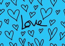 Bezszwowi wzory z błękitnymi sercami, miłości tło, kierowy kształta wektor, valentines dzień, tekstura, płótno, ślubna tapeta ilustracji