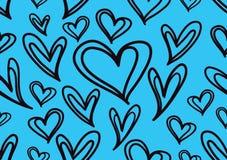 Bezszwowi wzory z błękitnymi sercami, miłości tło, kierowy kształta wektor, valentines dzień, tekstura, płótno, ślubna tapeta ilustracja wektor