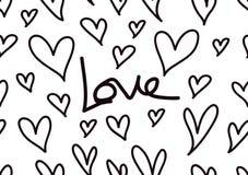 Bezszwowi wzory z czarnymi sercami, miłości tło, kierowy kształta wektor, valentines dzień, tekstura, płótno, ślubna tapeta, papi ilustracji
