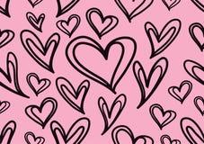 Bezszwowi wzory z czarnymi sercami, miłości tło, kierowy kształta wektor, valentines dzień, tekstura, płótno, ślubna tapeta, papi ilustracja wektor