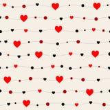 Bezszwowi wzory z czarnymi sercami serca bezszwowi tło to walentynki dni Prezenta opakunek, druk, płótno, śliczny tło f ilustracja wektor