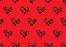 Bezszwowi wzory z czerwonymi sercami, miłości tło, kierowy kształta wektor, valentines dzień, tekstura, płótno, ślubna tapeta ilustracji