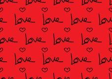 Bezszwowi wzory z czerwonymi sercami, miłości tło, kierowy kształta wektor, valentines dzień, tekstura, płótno, ślubna tapeta ilustracja wektor