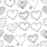 Bezszwowi wzory z doodles sercami Zdjęcie Royalty Free