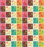 Bezszwowi wzory z kolorowymi kwadratami, Bożenarodzeniowi renifery Obraz Stock