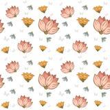 Bezszwowi wzory z kwiatami wektorowymi Zdjęcie Royalty Free