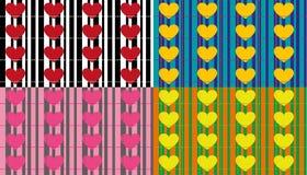 Bezszwowi wzory z perłami i sercami Zdjęcia Stock