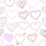 Bezszwowi wzory z sercami Zdjęcie Royalty Free