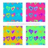 Bezszwowi wzory z sercami ilustracji