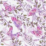 Bezszwowi wzory z wzrastali kwiaty i motyle w menchiach i ilustracji