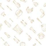 Bezszwowi złoci kosmetyki ikony Obrazy Royalty Free