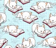 Bezszwowy śliczny kot czyta książkowego wzór royalty ilustracja
