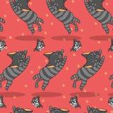 Bezszwowy śliczny kot jest chwytającym motylim wzorem ilustracja wektor