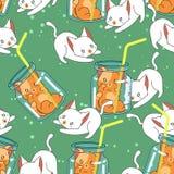 Bezszwowy śliczny kot w lato wzorze ilustracji