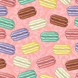 Bezszwowy śliczny macarons wzór Obraz Royalty Free