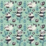 Bezszwowy śliczny wzór z pandą i bambusem, rośliny, dżungla, ptak, jagoda, kwitnie royalty ilustracja