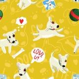 Bezszwowy śmieszny kolorowy wektoru wzór z ślicznym dogsin kreskówki stylem Fotografia Royalty Free