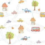 Bezszwowy śmieszny wzór dla dziecka z miasteczkiem ilustracja wektor