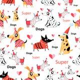 Bezszwowy śmieszny wzór enamored śmieszni psy royalty ilustracja