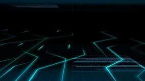 Bezszwowy abstrakcjonistyczny błękita światła animaci tła wzór elektronicznego obwodu prąd z komputerowego kodu tłem ilustracji