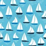 Bezszwowy abstrakcjonistyczny denny tło Żaglówki na błękitnym tle deseniowy denny bezszwowy ilustracja wektor