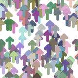 Bezszwowy abstrakcjonistyczny geometrical strzałkowaty tło wzór - wektorowy projekt od stubarwnych zaokrąglonych oddolnych strzał Fotografia Royalty Free