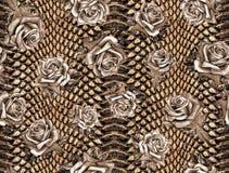 Bezszwowy abstrakcjonistyczny kwiecisty wzór na lampart skóry teksturze, wąż ilustracja wektor