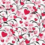 Bezszwowy abstrakcjonistyczny kwiecisty wzór z czerwonymi sercami, biały tło, Obraz Royalty Free