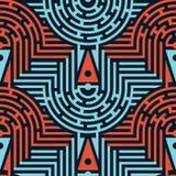 Bezszwowy Abstrakcjonistyczny labiryntu wzór w Błękitnych i Czerwonych kolorach Fotografia Royalty Free