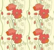 Bezszwowy Abstrakcjonistyczny Naturalny tło z maczkiem Zdjęcia Royalty Free