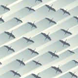 Bezszwowy abstrakcjonistyczny tło kierdel żurawie ilustracji