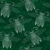Bezszwowy abstrakcjonistyczny tło z motylami, henna Mehendi Tat Zdjęcie Royalty Free