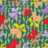 Bezszwowy abstrakcjonistyczny tło z kolorowymi kwiatami Zdjęcia Stock