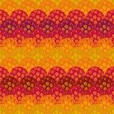 Bezszwowy abstrakcjonistyczny wektorowy fishscale wzór z kwiatami i żywymi kolorami ilustracja wektor